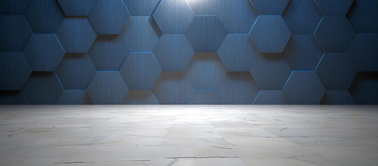Dark Blue Wall with Hexagonal Tile and Marble Floor (3d Illustration)