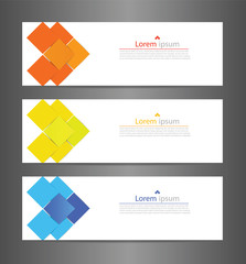 Set three abstract modern banner texture. Vector banner background for web banner design