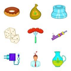 Detrimental icons set, cartoon style