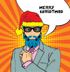 Christmas pop art face. A man in Santa Claus hat, suit and glasses and Happy Holidays speech bubble. Vector illustration in retro comic style. New year party invitation.