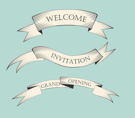 Set of old vintage ribbon banners and drawing in engraving style with word Welcome, Invitation and Grand opening. Hand drawn design element. Vector Illustration