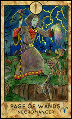 Necromancer or warlock. Minor Arcana Tarot Card. Page of Wands