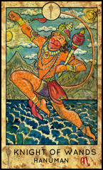Hanuman, hindu god. Minor Arcana Tarot Card. Knight of Wands