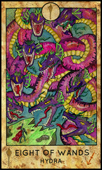 Hydra, greece monster. Minor Arcana Tarot Card. Eight of Wands