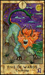 Chimera beast. Minor Arcana Tarot Card. Five of Wands.
