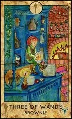 Brownie gnome. Minor Arcana Tarot Card. Three of Wands