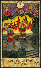 Cyclops. Minor Arcana Tarot Card. Two of Wands