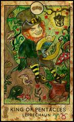 Leprechaun. Minor Arcana Tarot Card. King of Pentacles