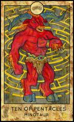Minotaur. Greece mythology creature. Minor Arcana Tarot Card. Ten of Pentacles