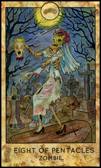 Zombie bride. Minor Arcana Tarot Card. Eight of Pentacles