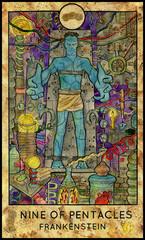 Frankenstein. Laboratory monster. Minor Arcana Tarot Card. Nine of Pentacles