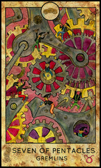 Gremlins or gnomes. Minor Arcana Tarot Card. Seven of Pentacles