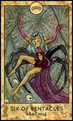 Arachne. Greece mythology creature. Minor Arcana Tarot Card. Six of Pentacles