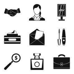 Beauty business icons set, simple style