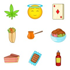 Diabetes icons set, cartoon style