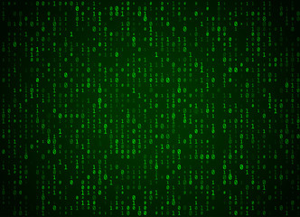 Vector binary code green background. Big data and programming hacking, deep decryption and encryption, computer streaming numbers 1,0. Coding or Hacker concept