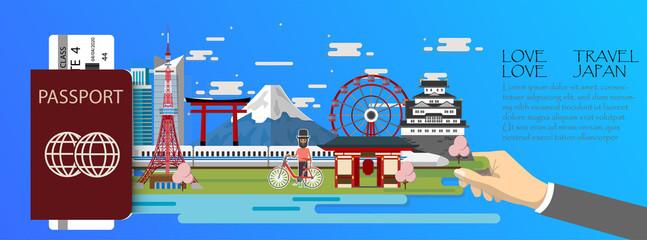 Travel infographic .Japan  infographic , passport  with landmarks of Tokyo .
