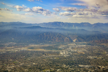 Aerial view of Irwindale, West Covina, view from window seat in an airplane