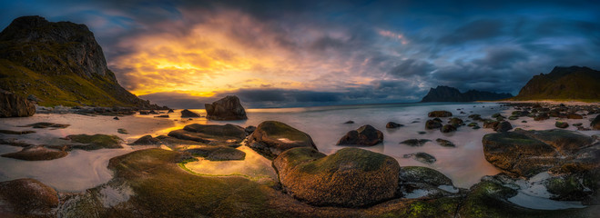 Wall Mural - Panorama of the Uttakleiv beach in Norway at sunset