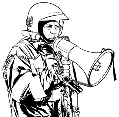 Fireman with Megaphone in Hand - Black and White Illustration, Vector