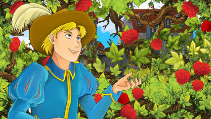 Cartoon scene of beautiful prince in the garden - castle in the background - illustration for children