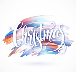 Christmas Calligraphy handwriting lettering on the background of brushstrokes an oil or acrylic paints. Vector illustration