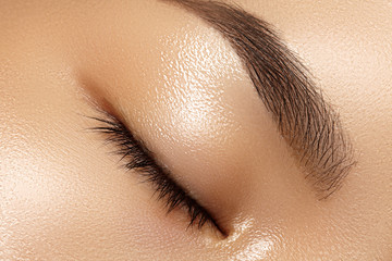 Beautiful macro of female eye with clean makeup. Perfect shape eyebrows. Cosmetics and make-up. Care about eyes