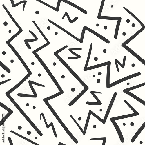 Abstract Black On White Zig Zag Seamless Pattern Fashion Trendy Vector Texture With Hand