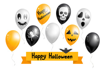 Set of Halloween balloons. Vector illustration.ween balloon