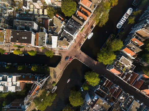 Bridges of Amsterdam, view from above