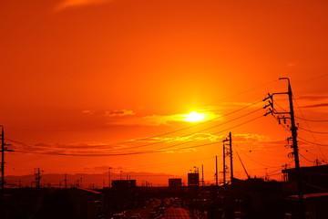 秋の夕焼け風景