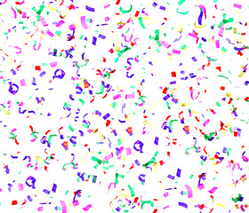 Colorful Confetti  Isolated on White Background, Holiday Concept