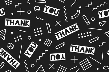 Seamless pattern for Thanksgiving Day. Seamless graphic pattern 90s trendy style on black background with text Thank You. Colorful pattern with different shapes objects for wrapping paper. Vector