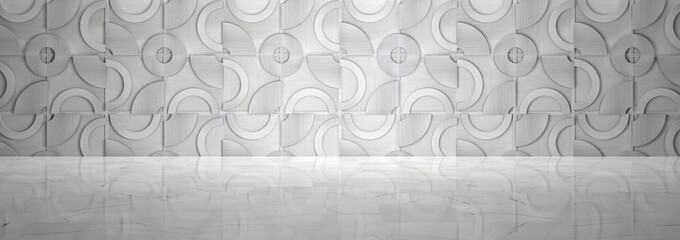 Empty Room With Metal Pattern Wall and Polished Marble Floor (3d illustration)
