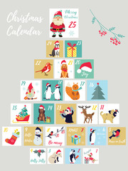 Christmas advent calendar. Winter holidays poster with cute animals and symbols