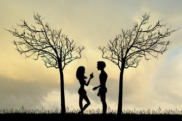 Adam and Eve in the Eden garden