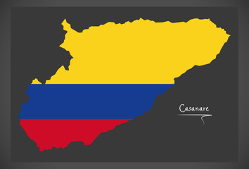 Casanare map of Colombia with Colombian national flag illustration