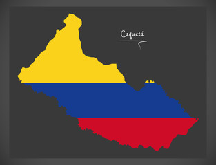 Caqueta map of Colombia with Colombian national flag illustration
