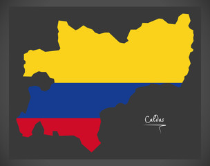 Caldas map of Colombia with Colombian national flag illustration