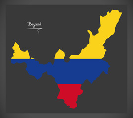 Boyaca map of Colombia with Colombian national flag illustration