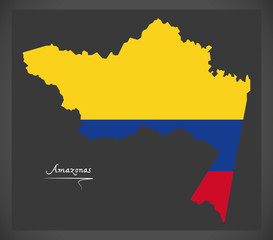 Amazonas map of Colombia with Colombian national flag illustration