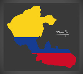 Risaralda map of Colombia with Colombian national flag illustration
