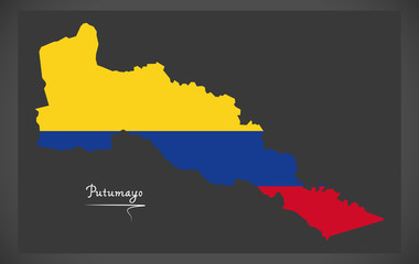Putumayo map of Colombia with Colombian national flag illustration