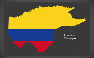 Guaviare map of Colombia with Colombian national flag illustration