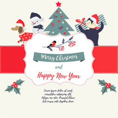 Greeting card with holiday elements and characters