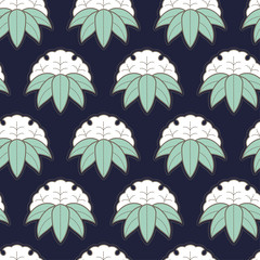 Seamless pattern in Japanese style. Japanese ornament of white flowers and leaves on a blue background.