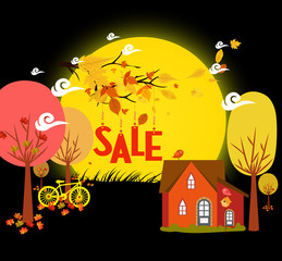 Sales autumn with background leaves falling and bicycle under the moonlight