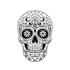 Graphic illustration of sugar skull