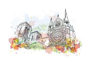 Watercolor sketch of Notre-Dame de Paris France in vector illustration.
