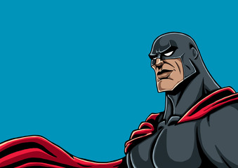 Superhero Portrait Black / Portrait of superhero in black costume and red cape.